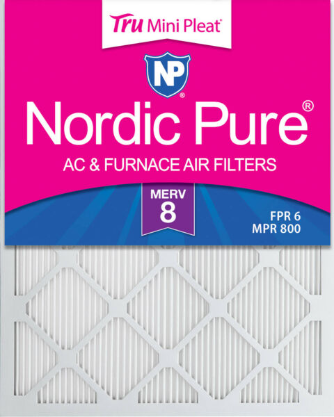 20x25x1 Nordic Pure Tru Mini Pleat AC Furnace Air Filters MERV 8 Qty 6