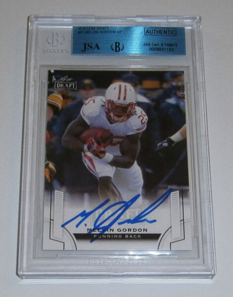 2015 CHARGERS Melvin Gordon signed ROOKIE card Leaf RC JSA Slab AUTO Autographed