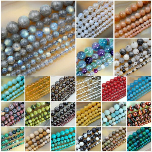 Wholesale Smooth Natural Gemstone Round Loose Beads 15quot; 4mm 6mm 8mm 10mm 12mm