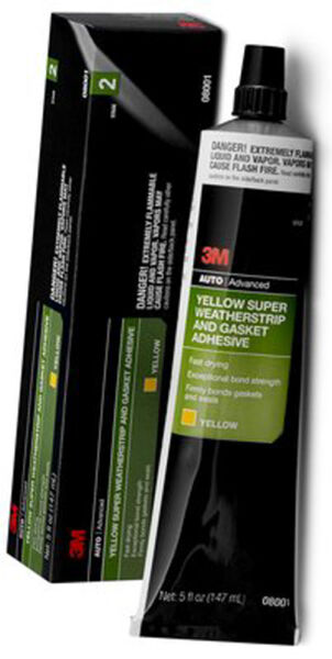 1 TUBE 3M SUPER WEATHERSTRIP & GASKET ADHESIVE YELLOW 5 OZ 08001