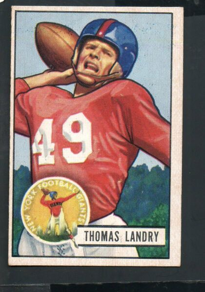 1951 Bowman Football Card #20 Tom Landry-New York Giants-Dallas Cowboys