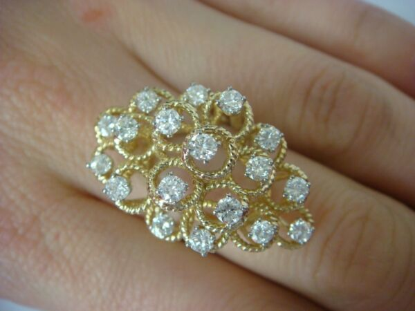 1.50 CARAT T.W. LARGE HIGH SET HAND MADE DIAMOND COCKTAIL RING 8.5 GRAMS