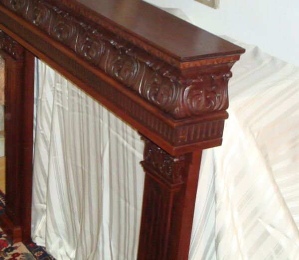 Hand carved solid mahogany Acanthus Fireplace Mantle firewood home decor