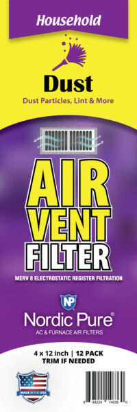 Air Vent Filters 4x12 (Register Vent Filters) 1 Pack of 12