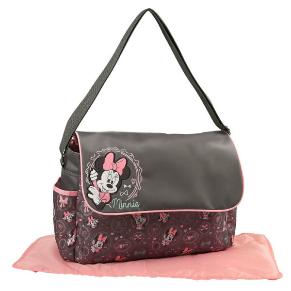 Disney Minnie Mouse Baby Girl Diaper Bag w Flap Love Bows Print Gray Pink NEW