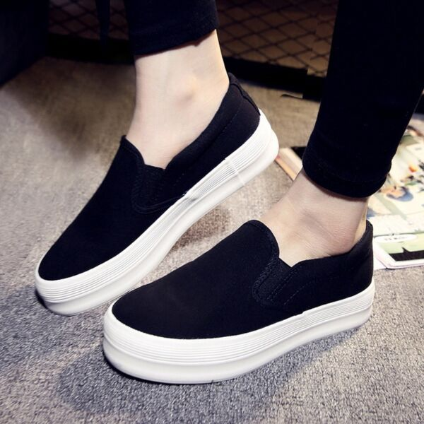 Womens Loafers Fashion Sneakers Slip On Flats Platform Trainers Canvas Shoes Hot