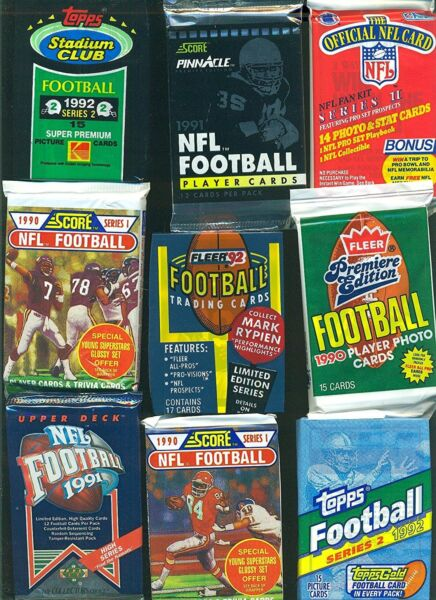 100 Unopened Vintage Football Cards in factory Sealed Wax Packs