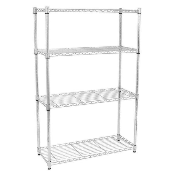 45 Tier Storage Rack Organizer Kitchen Shelving Steel Wire Shelves BlackChrome