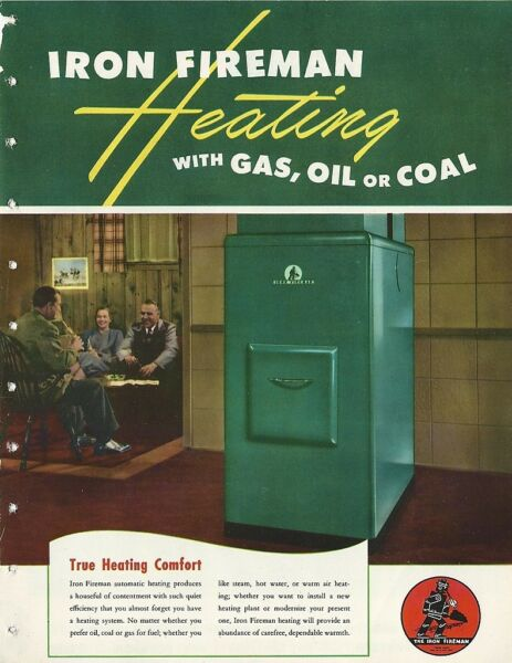 1949 IRON FIREMAN Gas Oil Heating BOILER UNITS Stokers ASBESTOS History Brochure