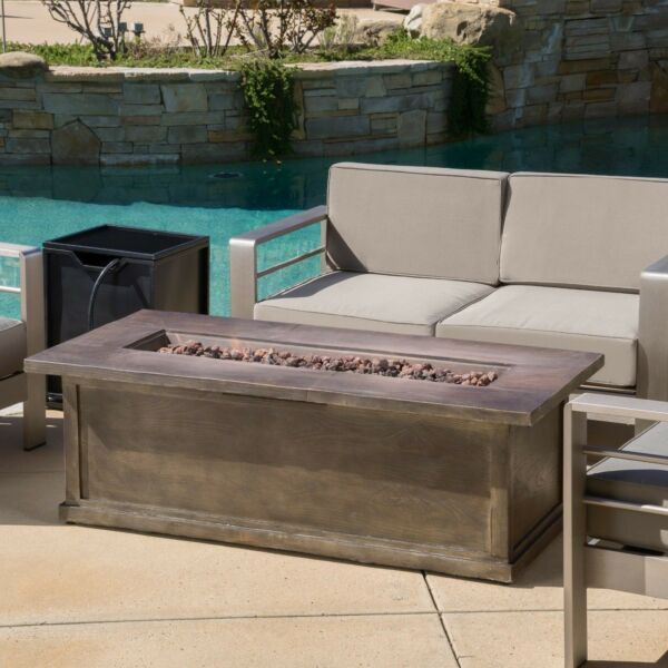 Pablo Outdoor 56 inch Rectangular Propane Fire Table