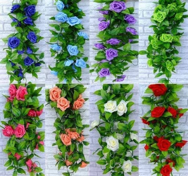 Garland 8ft Rose Flower Ivy Vine Silk Flowers Home Wedding Garden Decor Floral