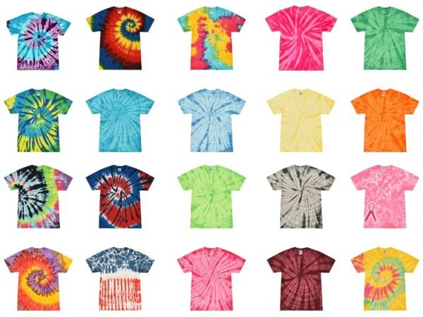 Multi-Color Tie Dye T-Shirts Adult SM - XXXXXL 100% Cotton Colortone-Gildan