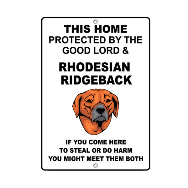 RHODESIAN RIDGEBACK DOG Home protected by Good Lord and Novelty METAL Sign $14.99