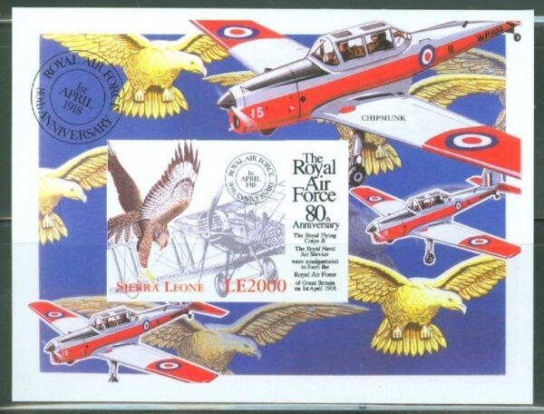SIERRA  LEONE  IMPERF 80th ANNIVERSARY OF THE RAF SS  SC#2135   MINT NH $39.95