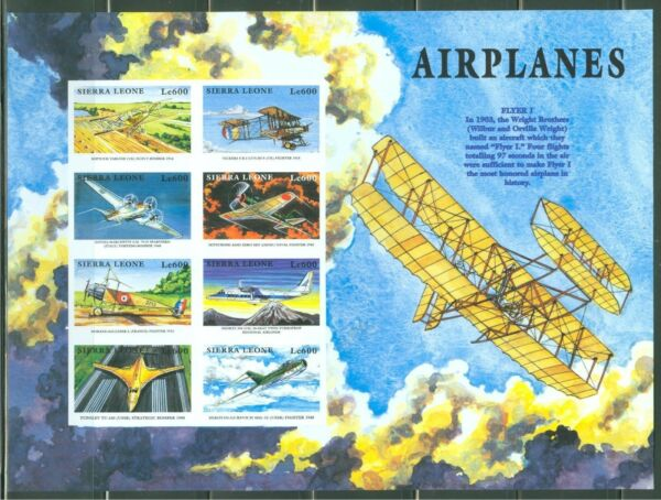 SIERRA  LEONE  IMPERF AIRPLANES FLYER I MIG15 TUPOLEV  SHEET  SC#2173  MINT NH $39.95