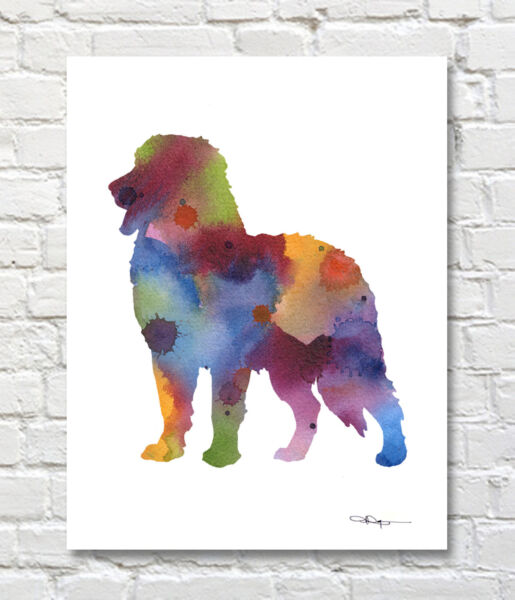 BERNESE MOUNTAIN DOG Abstract Contemporary Watercolor ART 11 x 14 Print by DJR