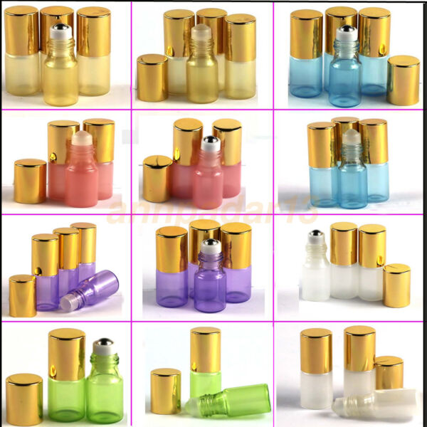 2~~50PCS 3ml Glass Roll on Bottles Essential Oil Perfume Metal or Glass Roller