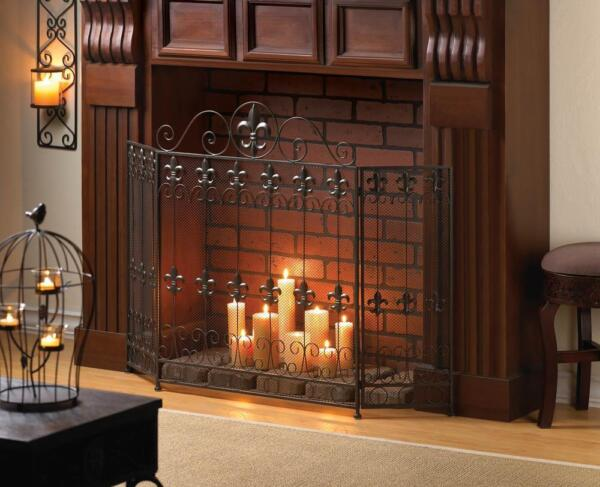 FRENCH country folding 3 panel IRON hearth portable mesh fire fireplace screen