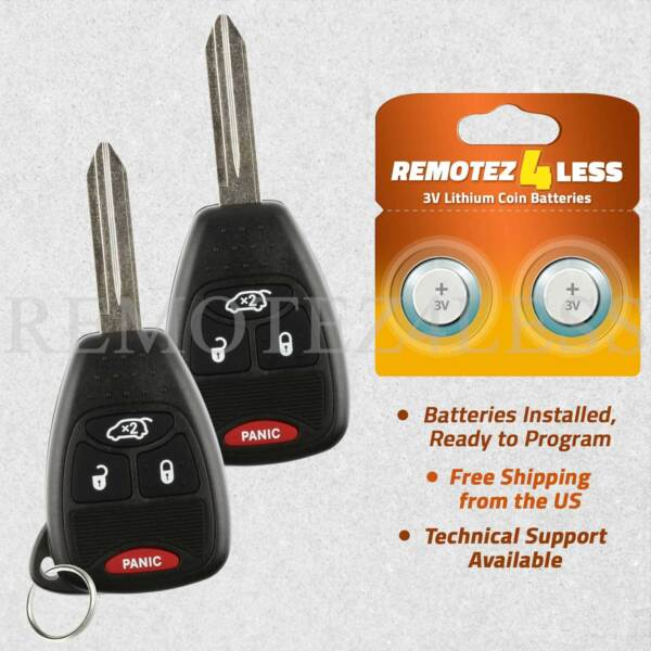 2 For 2006 2007 Dodge Charger Keyless Entry Remote Car Key Fob