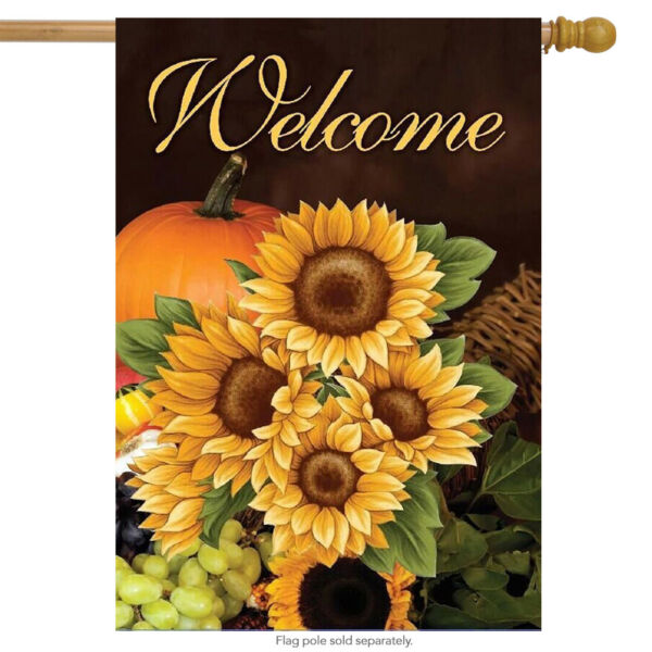 Welcome Fall Sunflowers House Flag Autumn Floral 28