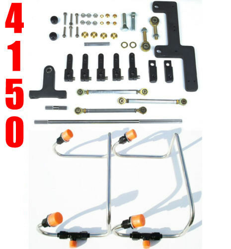 DUAL INLET 4150 MECH BLOWER FUEL LINES BLACK COLOR KIT HOLLEY LINKAGE COMBO $329.99