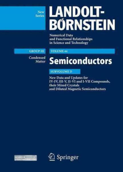 New Data and Updates for I-VII III-V and II-VI Compounds: Volume 44 Subvolume
