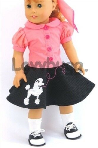 Complete 50s Poodle Skirt Shoes for 18 inch Doll Clothes American Girl Maryellen