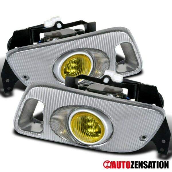 For 92-95 Honda Civic 2Dr 3Dr Yellow Bumper Fog Lights Lamps+Switch Wiring
