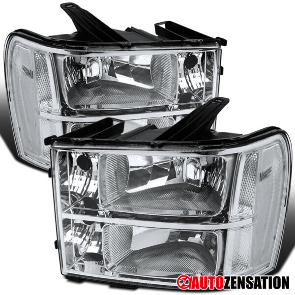 For 2007-2013 GMC Sierra 1500 2500 3500HD Crystal Headlights Left+Right Pair