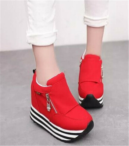 Womens/Students Lace Up High Platform Wedge Sneakers Trainer shoes Casual