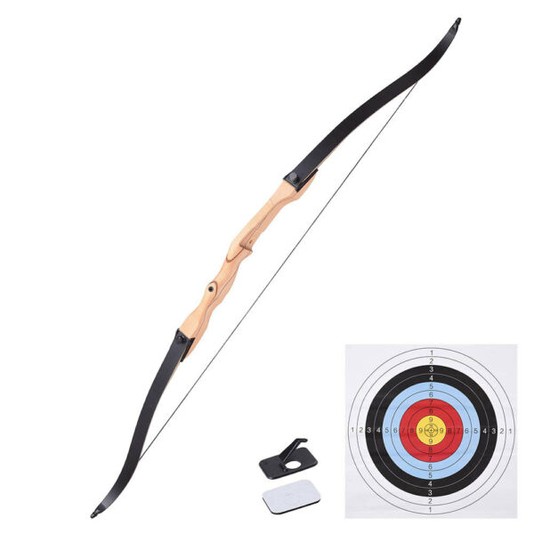 65quot; Recurve Long Bow Draw Right Hand Traditional Archery Hunting Take Down 30lbs