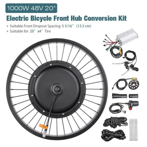 48V 1000W 20quot; Electric E Bike Front Wheel Bicycle Motor Conversion Kit Fat Tire $229.90