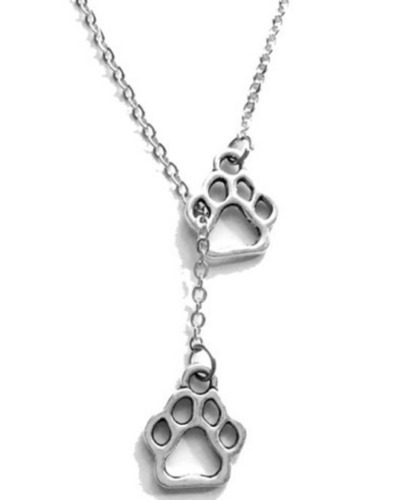 Free Ship 1pcs Silver Paw print Charms Pendant Chain Sweater Necklace Jewelry