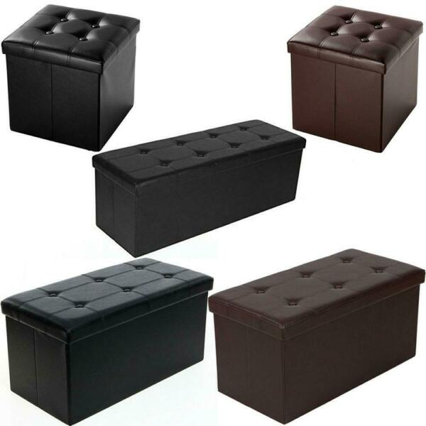 New Faux Leather Storage Footstool Sofa Ottoman Bench Folding Footrest Box Seat $25.90