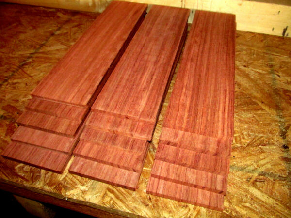 TEN 10 BEAUTIFUL SANDED KILN DRIED THIN PIECES BUBINGA WOOD 12 X 3 X 1 4quot; $37.95