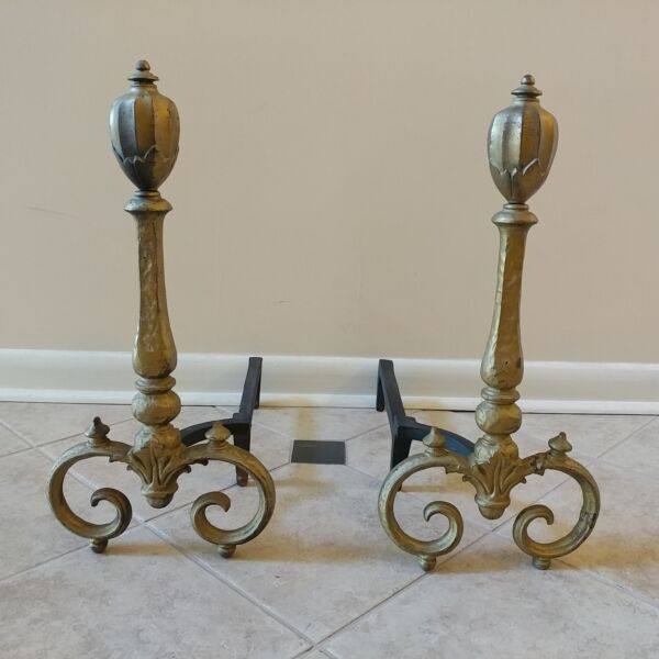 Bradley Hubbard JEWET Antique Victorian Cast Iron Tulip shape Andirons