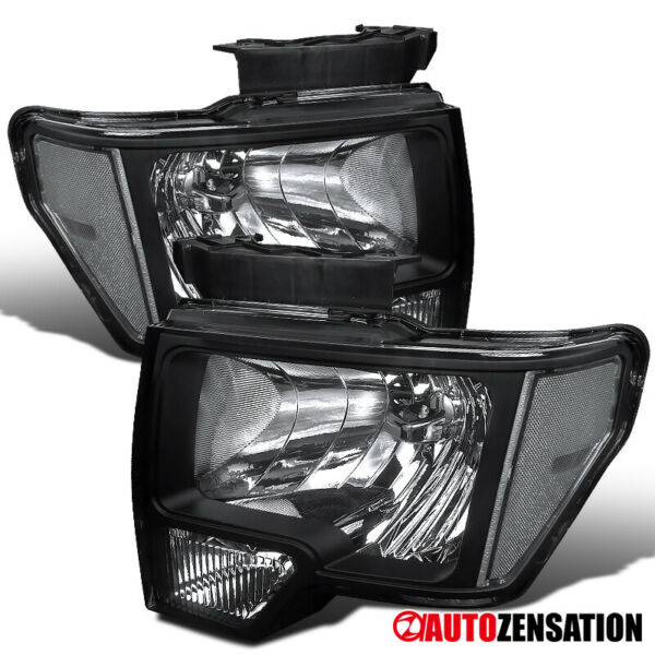 For 2009-2014 Ford F150 Black Lens Headlights Head Lamps Left+Right Pair