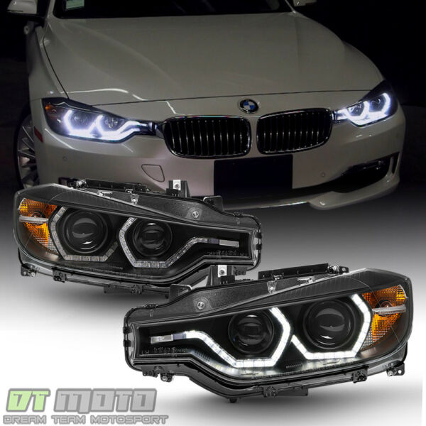 Black [F32 Style] 2012-2015 BMW F30 3-Series Sedan LED DRL Projector Headlights