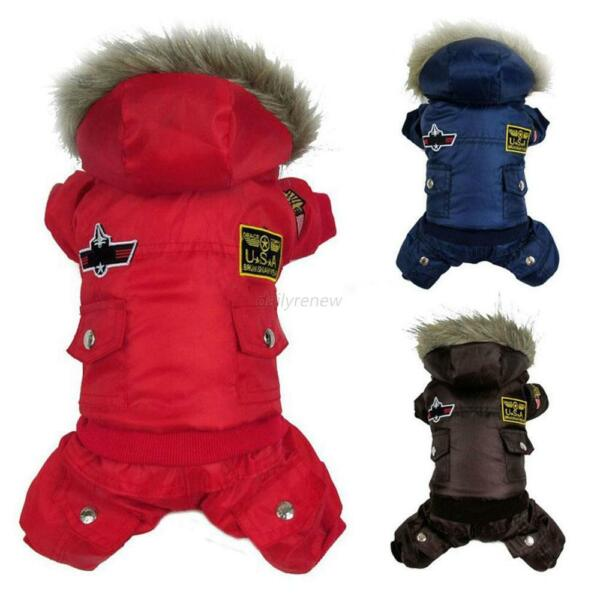 Winter Pet Dog Cat Hoodie Down Jacket Puppy Warm Coat Jumpsuit Hoody Clothes US