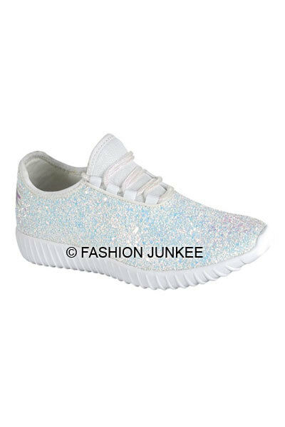 WHITE GLITTER Bomb SNEAKERS Tennis Shoes Lace Up Flats Comfortable Designer NEW