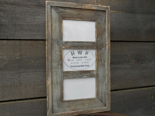 Rustic Barn Wood Collage Picture Frame 8 Color Choices 3 Sizes