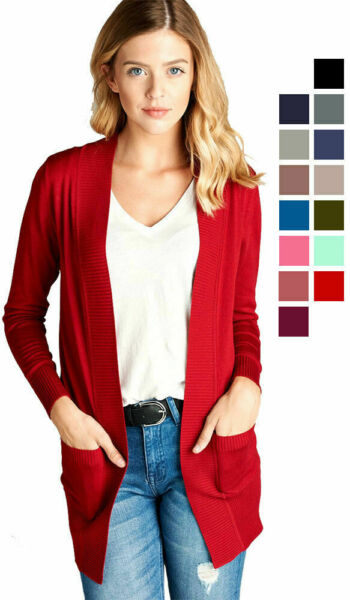 Women's Cardigan Long Sleeve Open Front Draped Sweater Rib Banded w Pockets