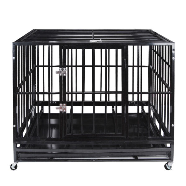 42quot; Dog Crate Kennel Heavy Duty Pet Cage Playpen with Tray Pan Wheels Black $139.99