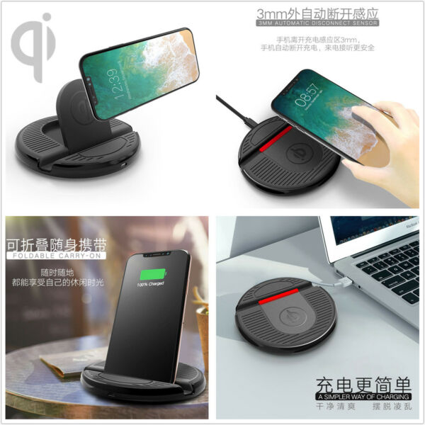 Mini QI Car Wireless Fast Charging Mount Charger Stand For iPhone X/8/8P Samsung