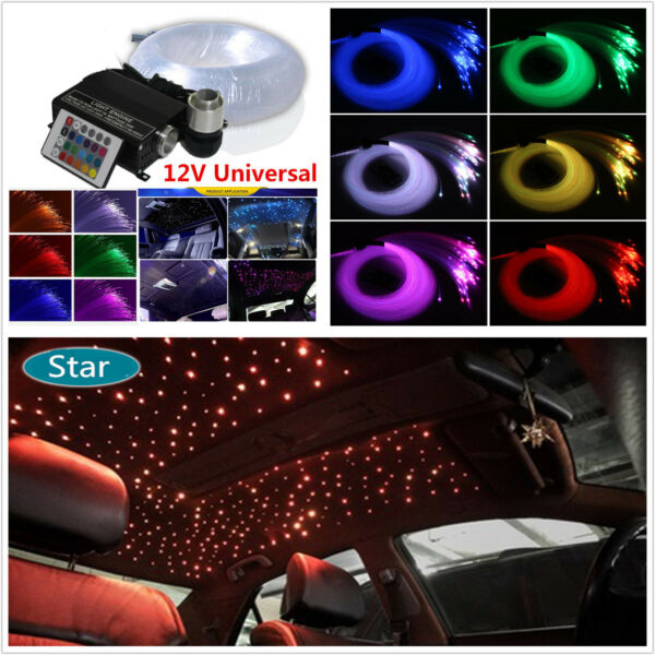 DIY Car LED Ceiling Light Fiber Optic Star Kit 16W RGBW Light Source+300Pc Fiber