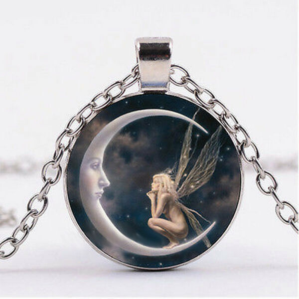 Fairy on the Moon Photo Cabochon Glass Silver Chain Pendant Necklace Jewelry NEW