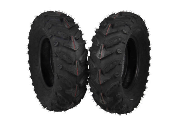 MASSFX Grinder 25x8-12 Front 2 Set ATV Tires 25x8x12 25x812 Dual Compound Tread