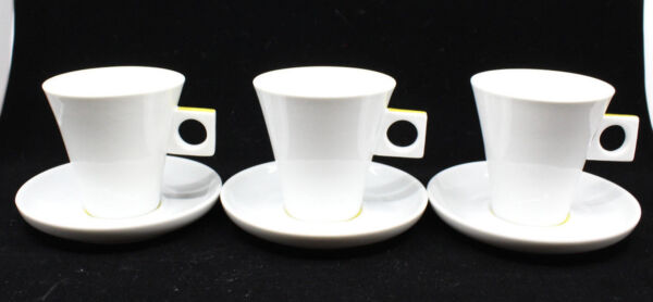 Nescafe Dolce Gusto Cappuccino Coffee Mug Cup Saucer Set of 3 Mustard Yellow