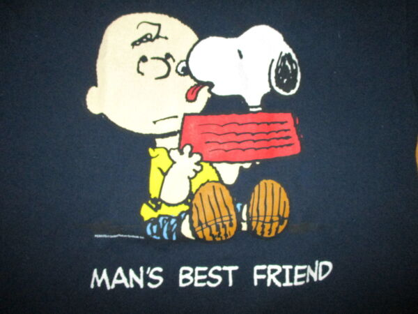 DOG IS MAN#x27;S BEST FRIEND PEANUTS T SHIRT Charlie Brown SNOOPY Blue Adult Large $15.99