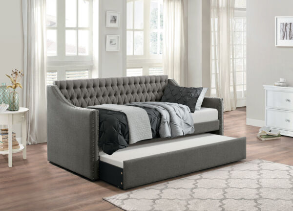 DARK GREY SOFA TWIN BED DORM ROOM DAYBED WITH TRUNDLE BEDROOM FURNITURE $599.00